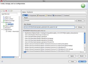 Changing the run configuration