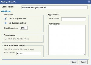 Setting values for the email field