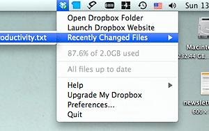 Dropbox Menu (Mac)