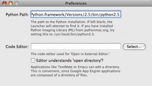 Changing the Python path in AppEngineLauncher